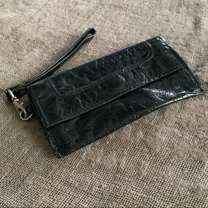 LATICO | Black Leather Wristlet with Floral Linen